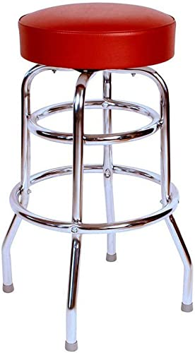 Richardson Seating Double Rung Backless Swivel Bar Stool with Chrome Frame and Seat, Wine, 30