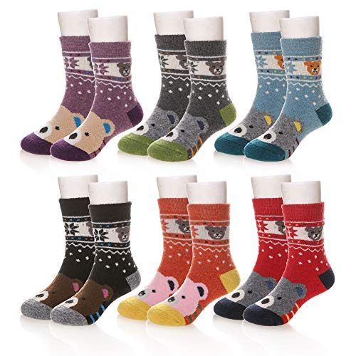 Eocom 5 Pairs Children's Winter Warm Wool Animal Crew Socks Kids Boys Girls Socks (6 Pairs Bear, 8-12 Years)
