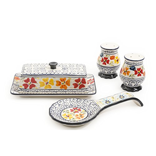 (Gibson Elite 92997.04R Luxembourg Handpainted Butter Dish, Spoonrest, Salt And Pepper Accessories Set, Blue and Cream with Floral Designs)