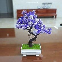 WANG&LIANG Set of 1 PCS 1 Branch Artificial Mini Bonsai Pine Tree Plant Home Decoration Long 9.4(inch) , amethyst