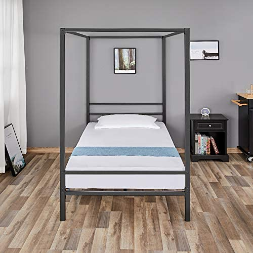 Metal Canopy Bed Frame Four Poster, with Metal Frame and Slats, Holds up to 500 lbs, No Box Spring Needed Twin
