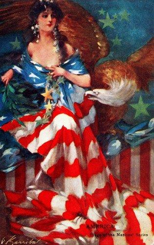 Flag Vintage Patriotic Postcard - 1907 Barribal~Patriotic America~Woman Draped in Flag~Bald Eagle~6 pack NEW Matte Vintage Picture Large Blank Note Cards with Envelopes