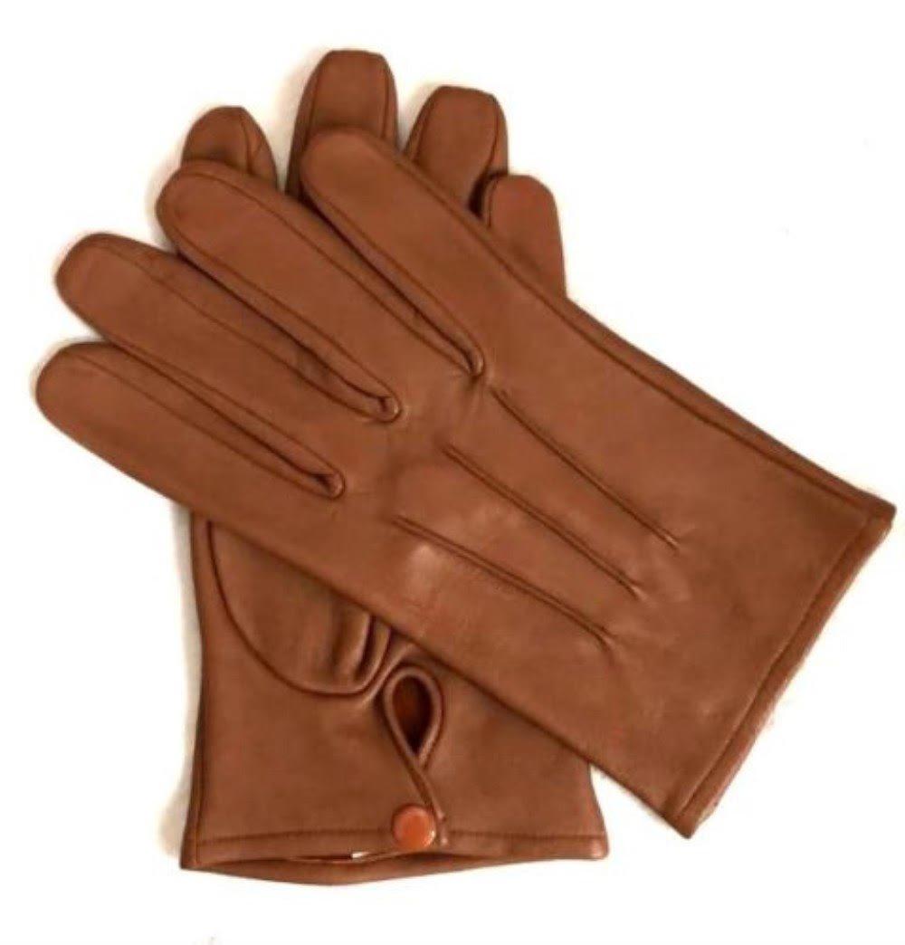 Men's Dress Leather Gloves (Medium, Saddle Brown)