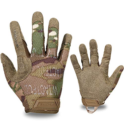 WTACTFUL Tactical Gloves for Airsoft Paintball Military Army Mechanic Work Cycling Bicycle Motorbike ATV Dirt Bike Hunting Hiking Shooting Climbing Camping Full Finger Gloves Men Women Camo Large