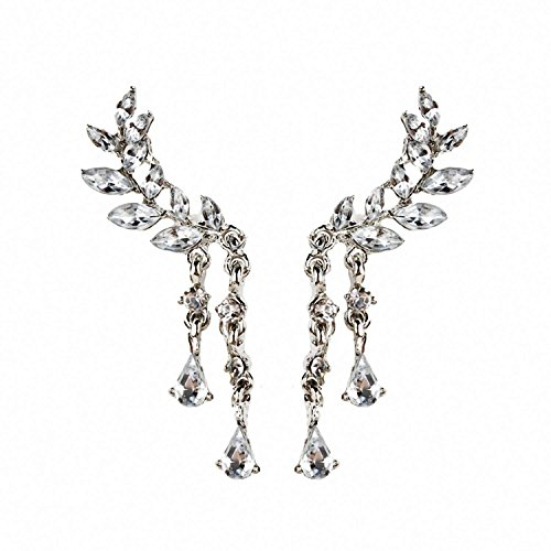 Price comparison product image Brighty-U Nice Fashion jewelry new European and American ebay pop leaves leaves crystal ear drops earrings wholesale Silver