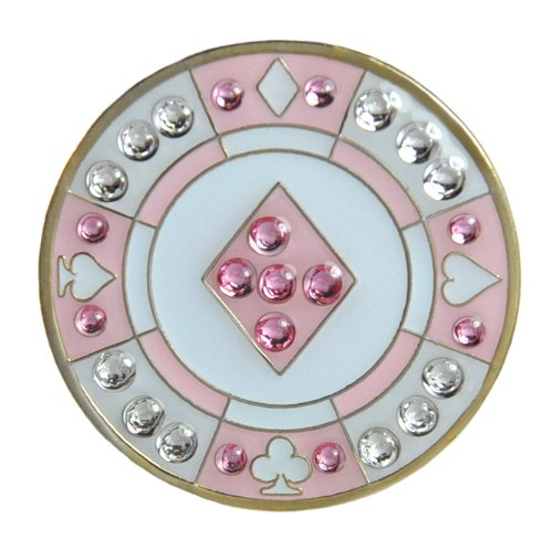 Navika Poker Chip Swarovski Crystal Ball Marker with Hat Clip (Pink Diamond) - Exclusive Diamond Jewelry