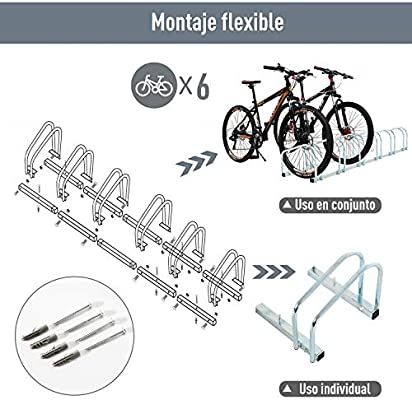 HOMCOM Aparcamiento 3 Bicicletas Soporte Aparcar Bici Suelo y ...