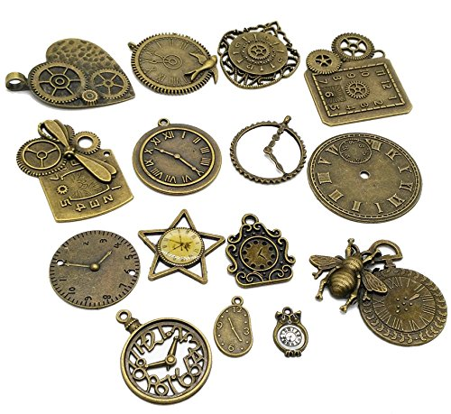 Pack of 15 Mixed Antique Bronze Charms watch - Steampunk Jewelry Parts