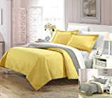 yellow quilt - Perfect Home 3 Piece Jasper Reversible Color Block Modern design Quilt with Shams Set, Queen, Yellow