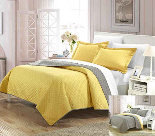 Perfect Home 3 Piece Jasper Reversible Color Block Modern design Quilt with Shams Set, King, Yellow