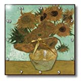 3dRose dpp_119816_1 Van Gogh Heavily Textured Still Life with 12 Sunflowers Wall Clock, 10 by 10-Inch