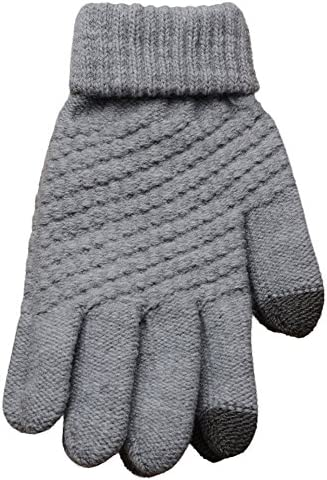 [해외]LuluZanm Winter Wool Gloves for Women MenUniRetro Solid Color Outdoor Mittens Plush Thick Gloves / LuluZanm Winter Wool Gloves for Women Men,UniRetro Solid Color Outdoor Mittens Plush Thick Gloves Gray