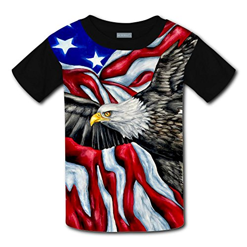 Qualra Kids Fashion American Flag Bald Eagle 3D Print T-Shirts Short Sleeve Tees