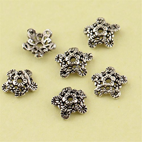 MFMei Antique Style Snowflake Bead Caps, Sterling Silver 5-petal Flower Caps (CY036)