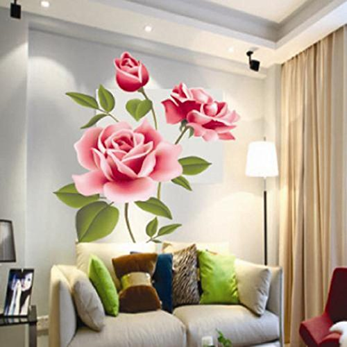 Waterproof Bathroom Tile Wall Sticker (Rose Flower) - 2