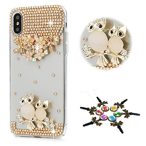 STENES iPhone XR Case - Stylish - 100+ Bling Crystal - 3D Bling Handmade Flowers Floral Night Owl Design Cover for iPhone XR - Champagne