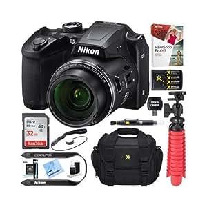 Nikon COOLPIX B500 16MP 40x Optical Zoom Digital Camera w/Built-in Wi-Fi NFC & Bluetooth (Black) + 32GB SDXC Accessory Bundle