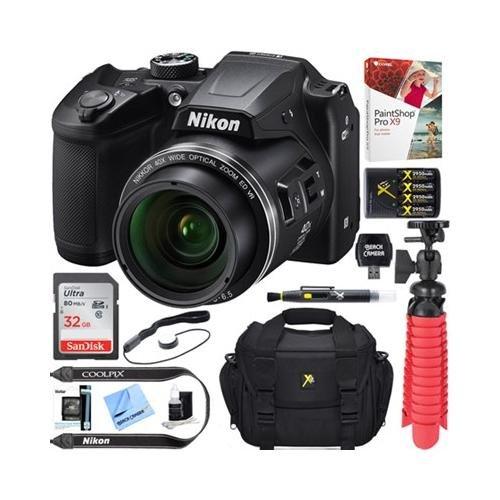 Beach Camera Nikon COOLPIX B500 16MP 40x Optical Zoom Digital Camera w/Built-in Wi-Fi NFC & Bluetooth (Red) + 64GB SDXC Accessory Bundle