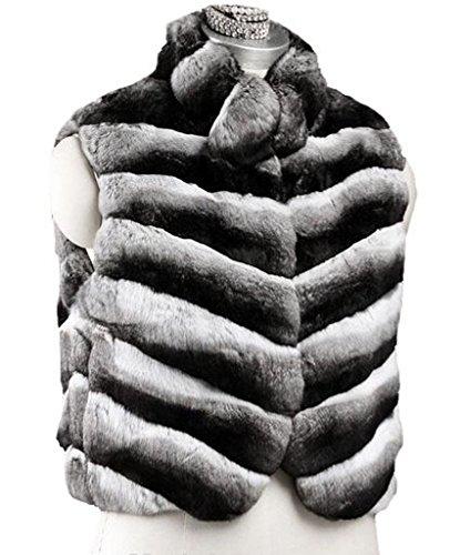 (Women's New Chinchilla Fur Vest Length 21