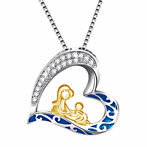 Angemiel 925 Sterling Silver Mom and Child Love Forever Heart Vintage Pendant Necklace, Box Chain 18