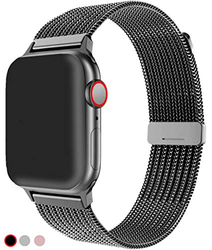 R-JADO Compatible for Apple Watch Band 38mm 40mm 42mm 44mm, Stainless Steel Mesh Sport Wristband Loop with Adjustable Magnet Clasp for iWatch Series 1,2,3,4,5 (Black, 38mm / 40mm)