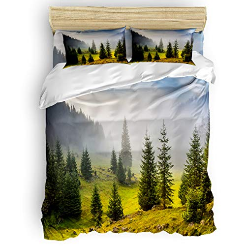 Wake Pillowcase Forest Printed - Arts Language Home Duvet Cover Set King Size for Kids/Adults/Teens National Forest Park Foggy Rainbow Soft 4 Pcs Bedding Set with Duvet Cover, Fitted Sheet, Pillowcases