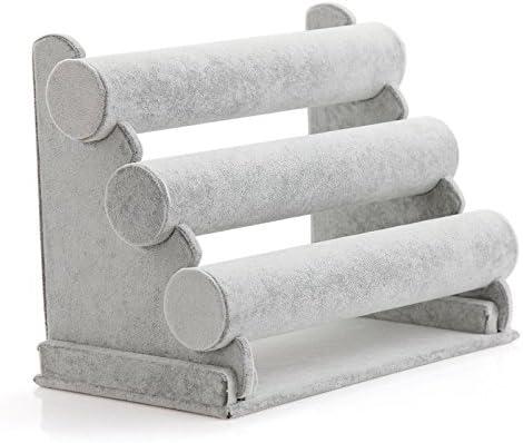 Seika - Soporte para pulseras de 3 niveles, soporte y expositor de joyas de terciopelo negro, soporte de pulsera para organización de joyas y exhibición gris: Amazon.es: Hogar