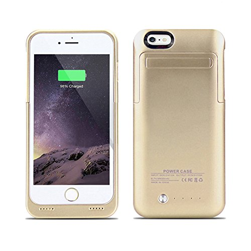 Arc IPhone 6; 6S Plus External Battery Backup Case Charger Power Bank 3500mAh Stand Gold