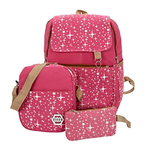 GOODCULLER Canvas Backpack Set 3 Pcs, Casual School Backpack for Women Teen Girls (Hot Pink)