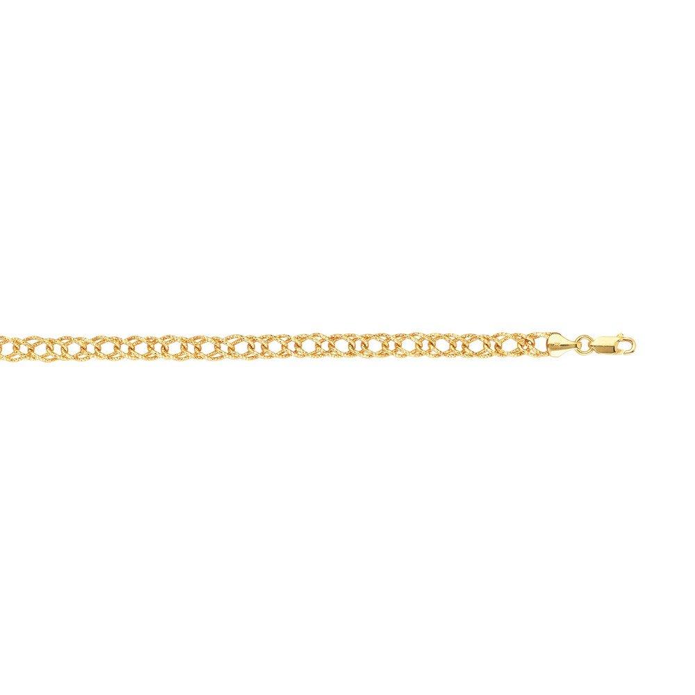 Pulsera de oro amarillo de 14 quilates con cierre de mosquetón de 6 mm con corte de cristal hueco, cierre de mosquetón – 19,05 cm