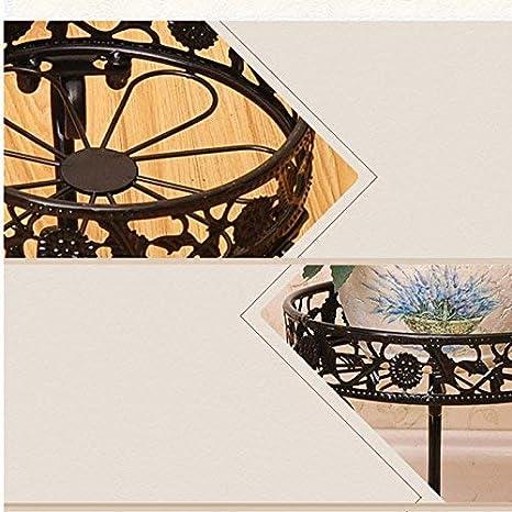 XHX Soporte para plantas, Flor de hierro forjado Balcón en el piso Macetero para interiores y exteriores Estante para flores multifuncional, Soporte para flores,Negro