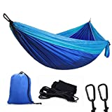 You and Me High quality Camping Hammock Features:  -Our Hammock Made of quick-drying, weather & mildew resistant 210T parachute grade nylon (the same as skydivers use!) , soft, comfortable, breathable and super durable, Easily fits two adults com...