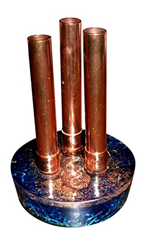 Orgone Energy Generating System for home, office, garden, travel - advanced six point interwoven vortex pyramid inlay, adjustable copper pipes - powerful, portable, versatile - weighs 1 lb