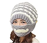 1Set(2PCS) Women Grils Winter Warm Mouth Mask and Knitted Hat Cap- Moustache Pattern Earmuff Face Mouth Soft Knitting Woolen Cap (Grey)