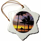 3dRose orn_89539_1 Chinamans Hat, Kaneohe Bay, Oahu, Hawaii - US12 DPB0103 - Douglas Peebles - Snowflake Ornament, Porcelain, 3-Inch