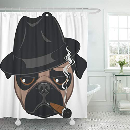 Semtomn Shower Curtain Pattern Gangster Funny Pug Cigar Dog Hat Fedora Animal Shower Curtains Sets with 12 Hooks 72 x 72 Inches Waterproof Polyester Fabric