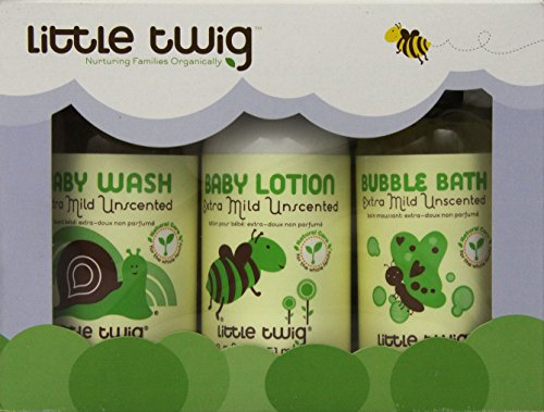 Little Twig Gentle Care All Natural, Hypoallergenic, Extra Mild 4 Piece Gift Set with Washcloth for Sensitive Skin, Unscented, 8.5 Bottles
