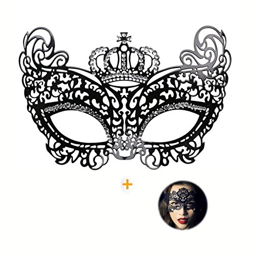 Masquerade Mask for Women Shiny Rhinestone Venetian Party Prom Ball Metal Mask - Venetian Crown