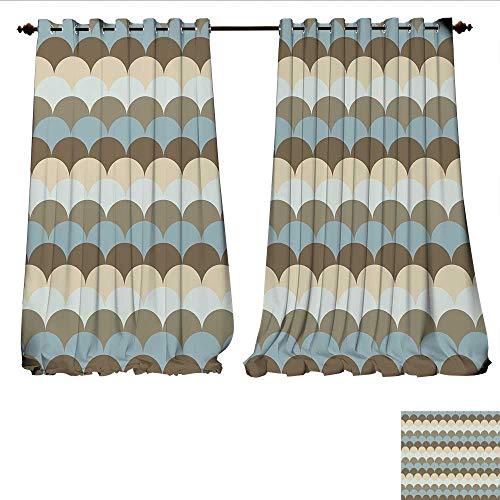 Pearl Oval Shaped Slide - WilliamsDecor Room Darkening Wide Curtains Circular Patterned Sea Concept Oval Shaped Wave Design Nautical Inspirations Customized Curtains W120 x L84 Multicolor