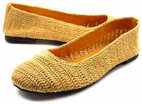 Orly Chaussures Femmes Dentelle Colorée Crochet Ballerines Découpées Jaune