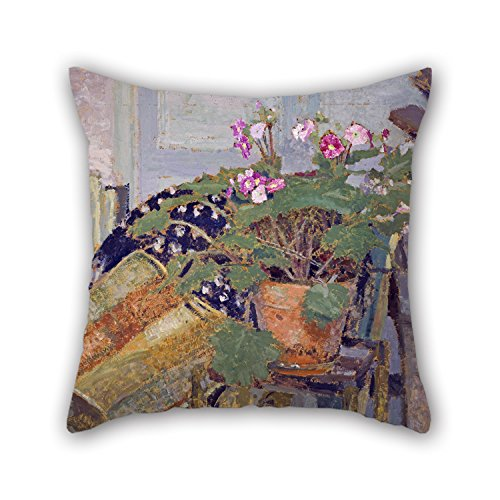Uloveme 18 X 18 Inches / 45 By 45 Cm Oil Painting Edouard Vuillard - Le Pot De Fleurs (Pot Of Flowers) Throw Pillow Covers ,twice Sides Ornament And Gift To Her,office,kitchen,car Seat,lounge,home O (Art Deco Flower Pot)