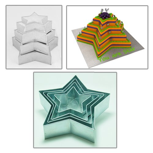 SET OF 4-PIECE STAR SHAPE CAKE BAKING PANS BY EURO TINS 6