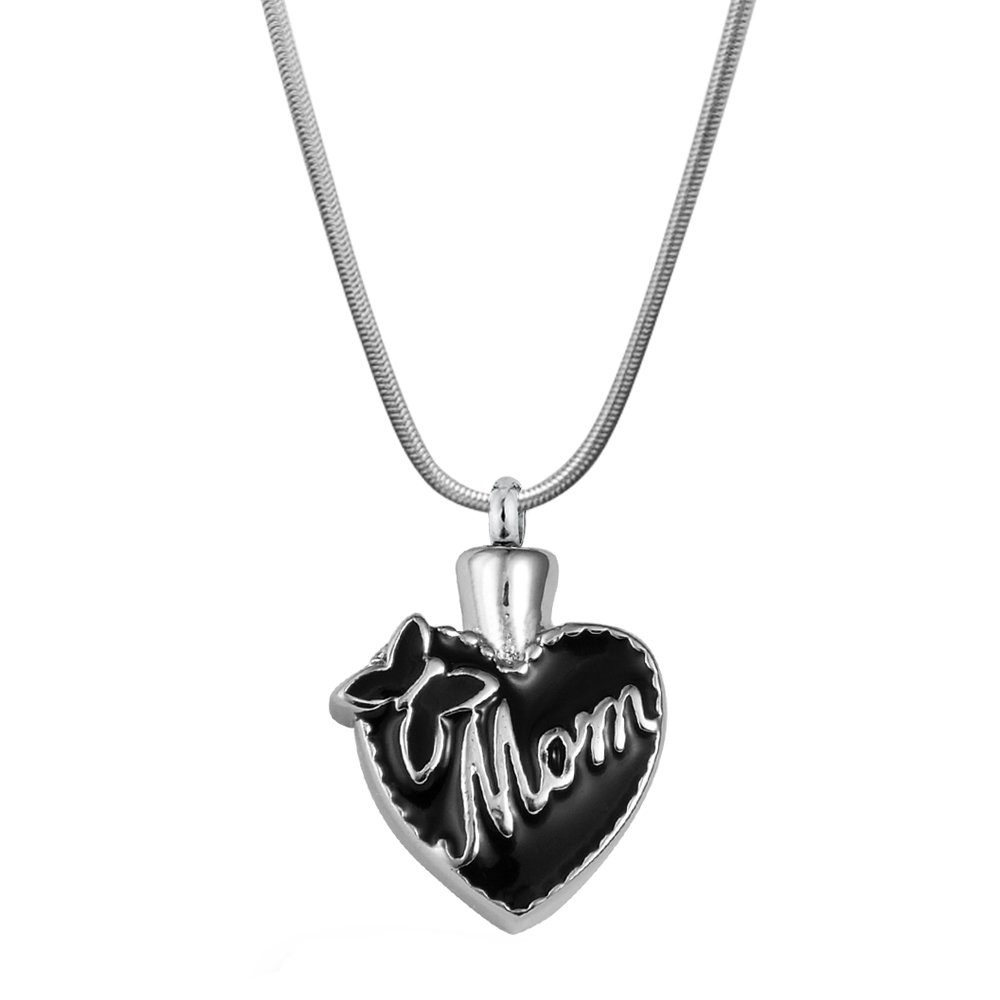 Anavia Engrave Custom Mom and Dad Heart Cremation Jewelry Memorial Keepsake Stainless Steel Urn Ashes Holder Pendant Necklace (Butterfly Mom)