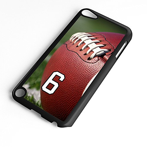 iPod Touch Case Fits 6th Generation or 5th Generation Football #6100 Choose Any Player Jersey Number 6 in Black Plastic Customizable by TYD Designs