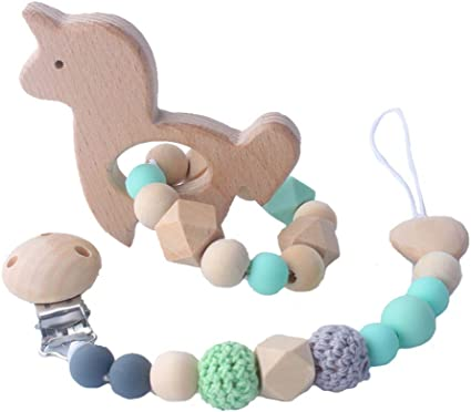 Baby Wooden Teether Animal Shape Chew Beads Teething Toys Baby Nursing Gift HD