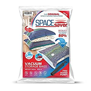 SpaceSaver Premium Large Vacuum Storage Bags (Works With Any Vacuum Cleaner + FREE Hand-Pump for Travel!) Double-Zip Seal and Triple Seal Turbo-Valve for 80% More Compression! (5 Pack)