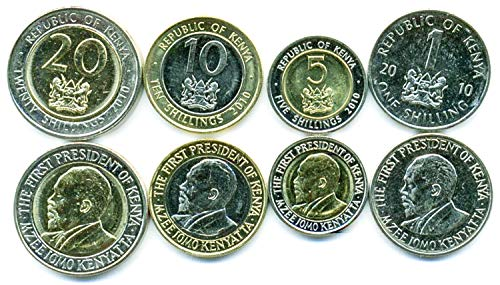 Kenya UNC 4 Coins Set 1-20 SHILLINGS 2005 Collectible Coins for Your Coin Album, Coin Holders OR Coin Collection