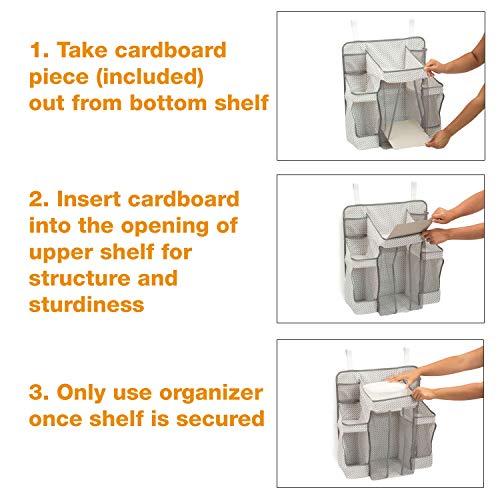 Delta Children Universal Hanging Organizer for Changing Tables | Diaper Caddy | Nursery Storage, Cool Grey by Delta Children (Image #4)