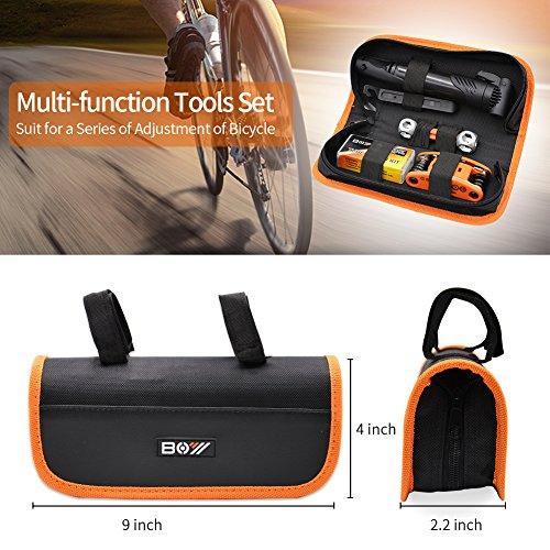 AQQEF Bike Repair Kit, Bicycle Repair Kits Bag With Portable Bike Pump  16-In-1 Bike Multi Tool Kit Sets by AQQEF (Image #2)