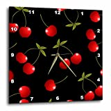 3dRose dpp_24730_3 Cherry Print Juicy Red Cherries on Black Wall Clock, 15 by 15″ For Sale
